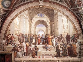 Raphael was famous for depicting illustrious figures of the Classical past with the features of his Renaissance contemporaries. School of Athens (above) is perhaps the most extended study in this.